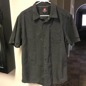 Quiksilver black short sleeve collared shirt